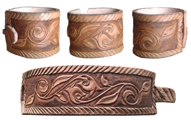 carved wristband with floral ornament