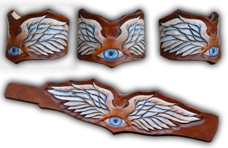 wristband with leather carving wings