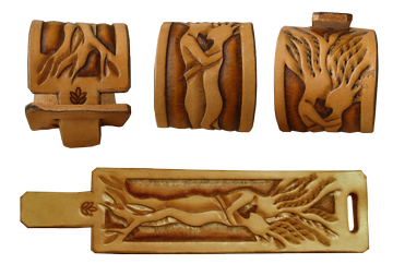 wristband with leather carving tree of life