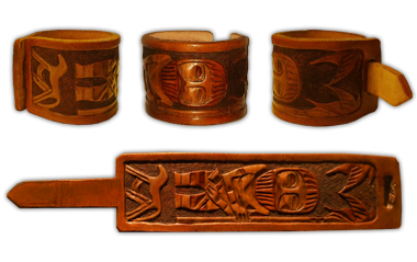 carved wristband in norse style