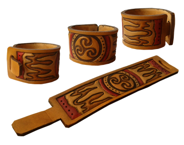 wristband with leather carving Triskele